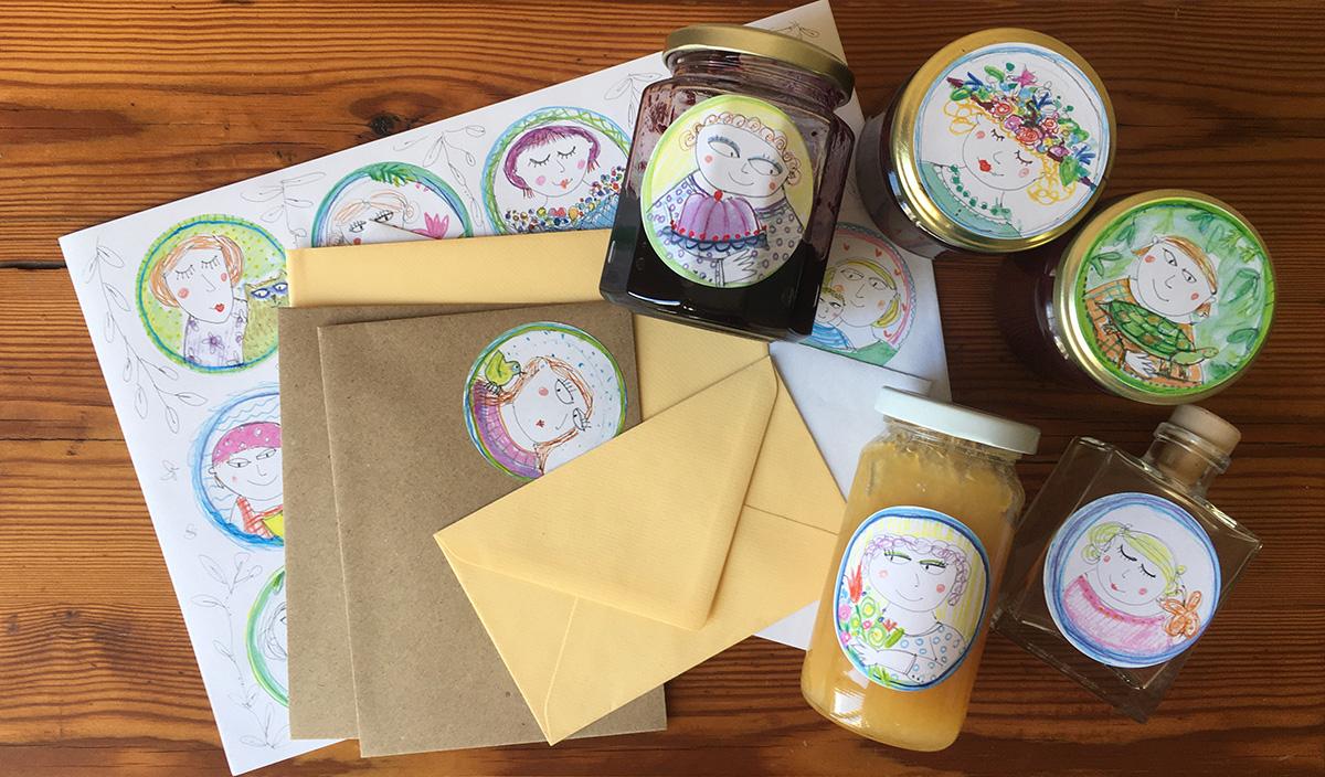 Etiketten auf Marmeladengläsern und auf Briefpapier, Fotot: Maike Krause, Etiketten: Roswitha Burgmann-Seewald, ©toepferei-regionalewaren.de